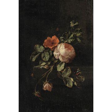 fotomural ramo de flores rojo oscuro y negro