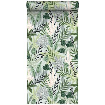 papel pintado XXL hojas en estilo escandinavo menta verde