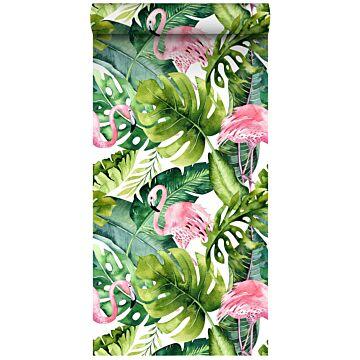 papel pintado XXL hojas tropicales con flamencos verde y rosa