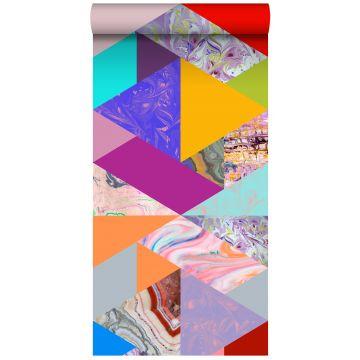 papel pintado XXL Triángulos con efecto mármol. amarillo, azul, rosa y verde
