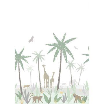 fotomural animales de la selva verde, gris y marrón