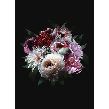 fotomural ramo de flores multi color sobre negro