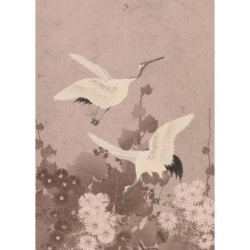fotomural pájaros grulla rosa gris