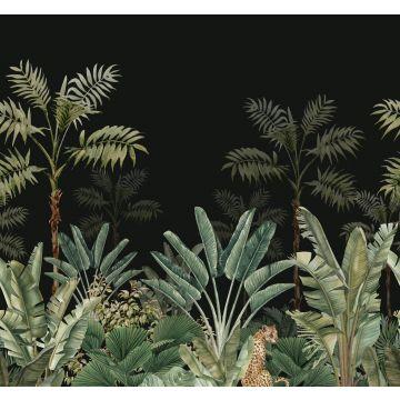 fotomural jungla negro y verde grisáceo