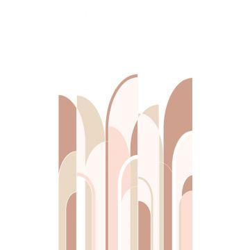fotomural arte deco rojo barro cocido y rosa suave