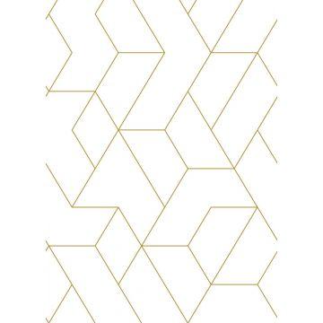 fotomural líneas gráficas blanco y oro
