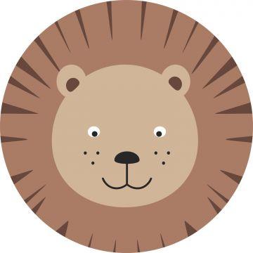 mural redondo autoadhesivo cabezas de animales marrón y beige