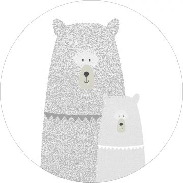 mural redondo autoadhesivo osos madre e hijo gris claro