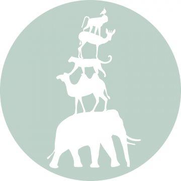 mural redondo autoadhesivo animales apilados menta verde y blanco