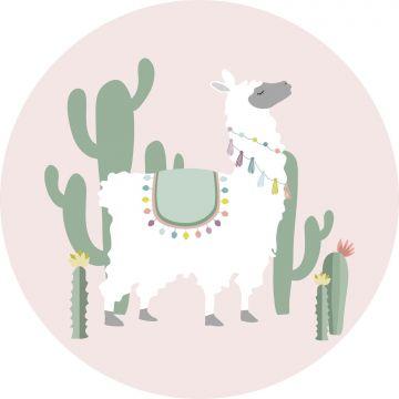 mural redondo autoadhesivo alpaca rosa y verde
