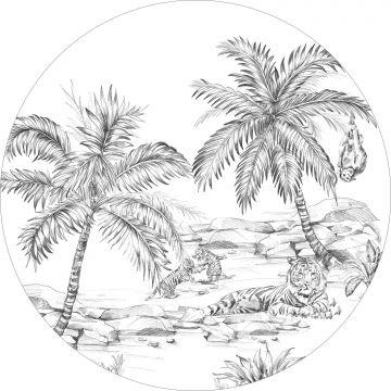 mural redondo autoadhesivo dibujo a la pluma de safari blanco y negro