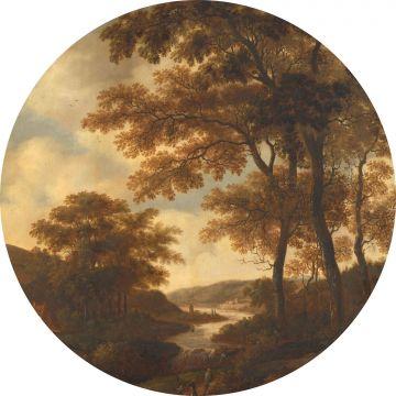 mural redondo autoadhesivo paisaje boscoso naranja