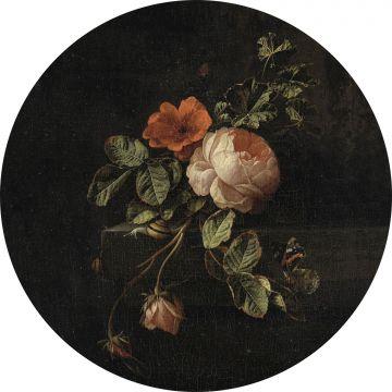 mural redondo autoadhesivo ramo de flores rojo oscuro y negro