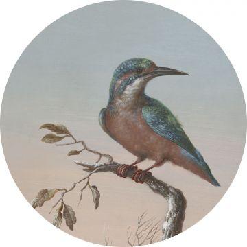 mural redondo autoadhesivo pájaro en rama rojo atardecer