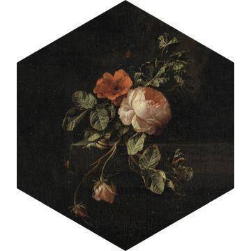 mural decorativo autoadhesivo ramo de flores negro, verde y rosa
