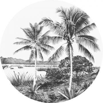 mural redondo autoadhesivo paisaje con palmeras blanco y negro