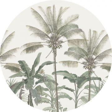 mural redondo autoadhesivo palmeras beige claro y verde grisáceo