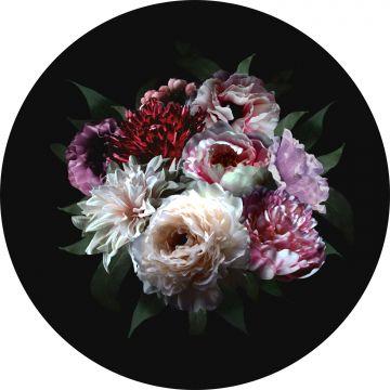 mural redondo autoadhesivo ramo de flores multi color sobre negro