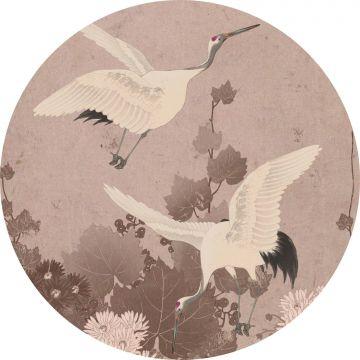 mural redondo autoadhesivo pájaros grulla rosa gris