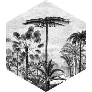 mural decorativo autoadhesivo paisaje con palmeras blanco y negro