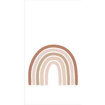 fotomural arcoíris rojo barro cocido, rosa suave y beige