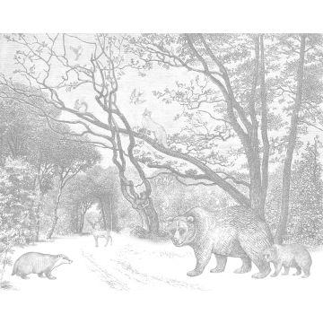 fotomural bosque con animales del bosque gris