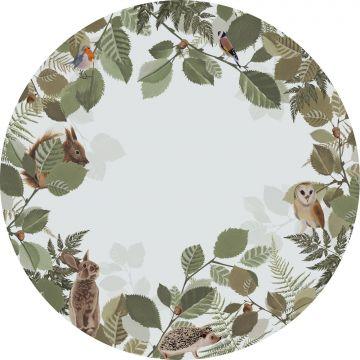 mural redondo autoadhesivo animales del bosque verde y marrón