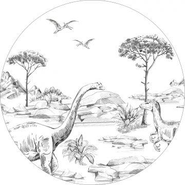 mural redondo autoadhesivo dinosaurios blanco y negro