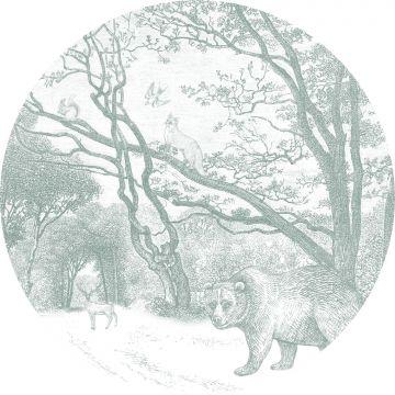 mural redondo autoadhesivo bosque con animales del bosque verde