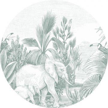 mural redondo autoadhesivo jungla verde