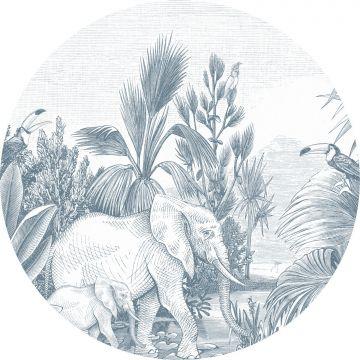 mural redondo autoadhesivo jungla azul