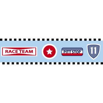 cenefa de papel pintado equipo de carreras azul celeste