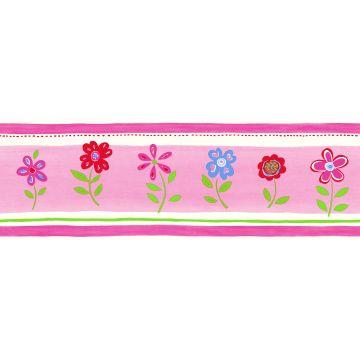 cenefa de papel pintado flores rosa