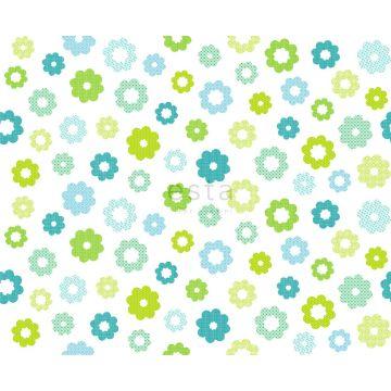 tela flores verde limón
