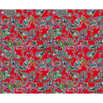 tela flores y paisleys funky rojo