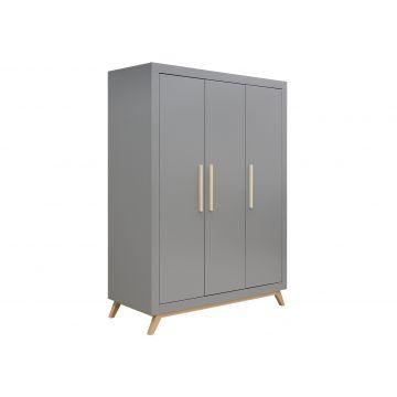 armario de 3 puertas Fenna gris y natural